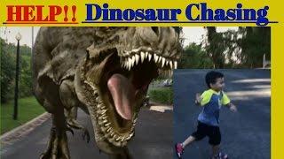 Dinosaur Chasing me 😠 after watching Ryan ToysReview| Kids and Toddlers Fun videos| IRL| T-Rex