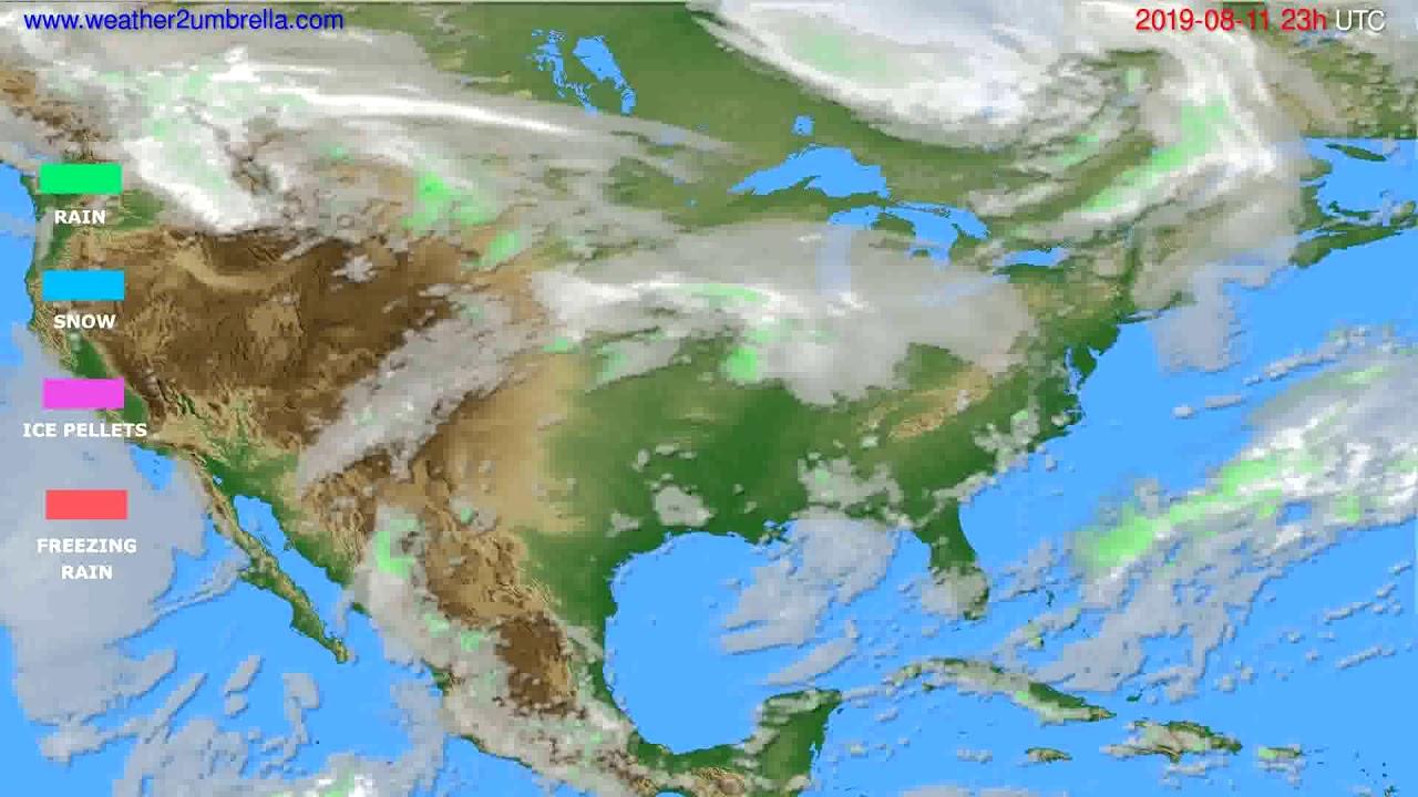 Precipitation forecast USA & Canada // modelrun: 12h UTC 2019-08-08