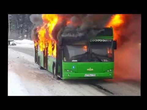 Автобус горит. Пермь.