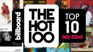 Subscribe for The Latest Hot 100 Charts & ALL Music News! ►► https://bitly.com/BillboardSubBillboard News: New Channel, Same Awesome ►► http://bit.ly/DailyMusicNewsAn early release of the July 22nd, 2017 Billboard Hot 100 Top 10. Watch and find out who is No. 1!Check back every Monday for more Billboard's Hot 100 Top 10 countdown.Visit our website for the latest charts and all things music: https://www.billboard.com/Like us on Facebook: https://www.facebook.com/BillboardFollow us on Twitter: https://twitter.com/billboard Follow us on Instagram: https://www.instagram.com/billboard/