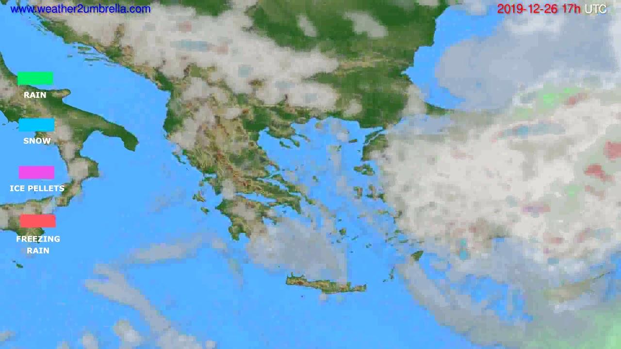 Precipitation forecast Greece // modelrun: 12h UTC 2019-12-25