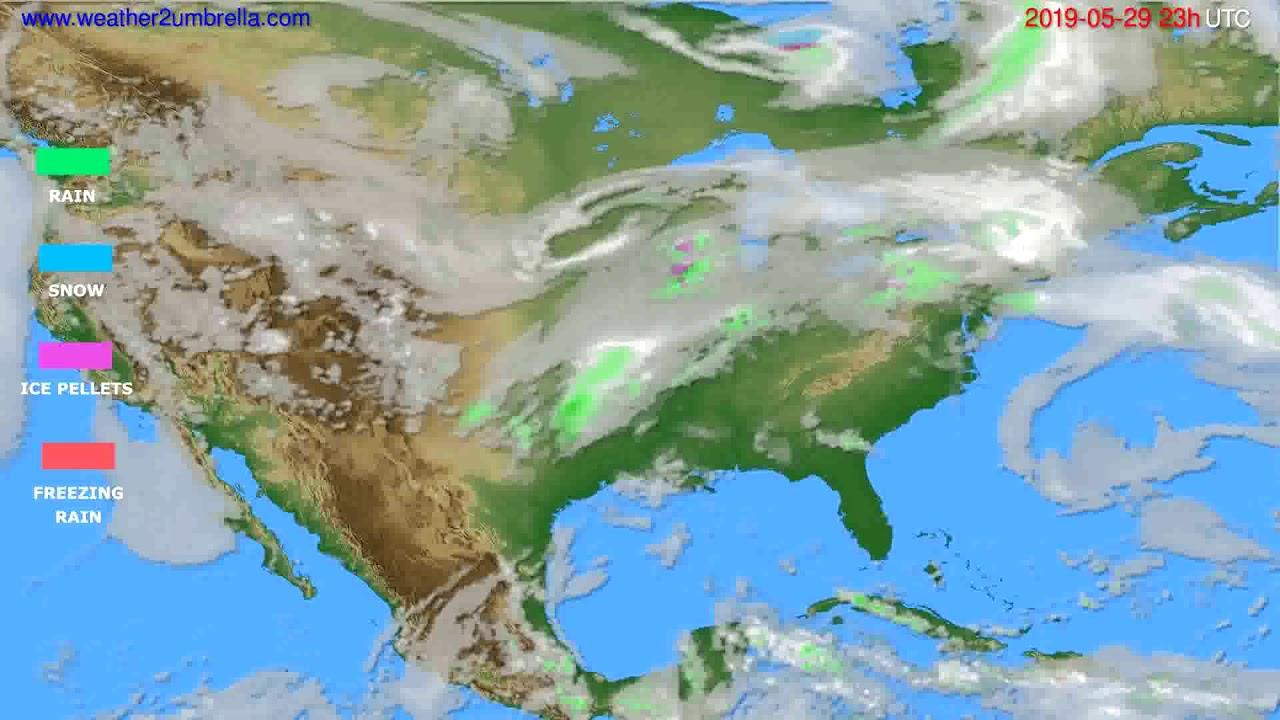 Precipitation forecast USA & Canada // modelrun: 12h UTC 2019-05-26