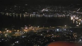 Aterrissagem no Santos Dumont à noite. GOL Boeing 737-700