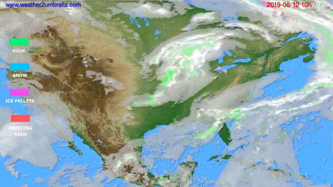 Precipitation forecast USA & Canada // modelrun: 00h UTC 2019-06-10