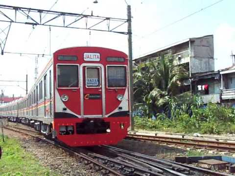 Railway Kereta api : KRL Jalita depart from the Jakartakota Station