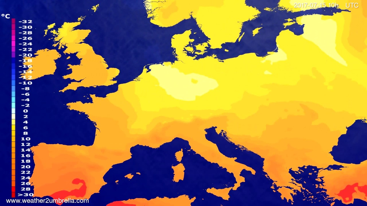 Temperature forecast Europe 2017-07-13