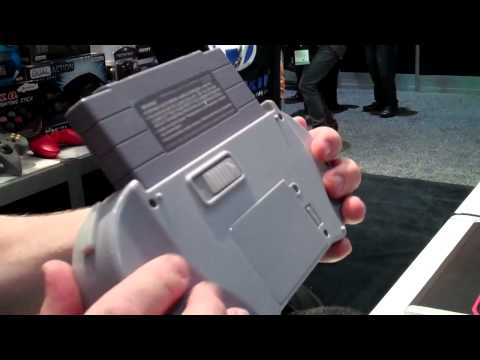 handheld console - CGR E3 2011 Adventure Pt38: Hyperkin SupaBoy portable SNES handheld console. Classic Game Room plays Street Fighter Alpha 2 for Super Nintendo on the SuperBo...