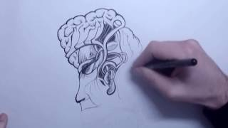"ABSTRACT ART ""Brainception"" TIME-LAPSE INK ILLUSTRATION SPEED DRAWING"