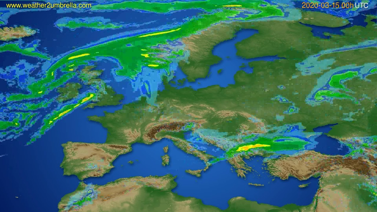 Radar forecast Europe // modelrun: 12h UTC 2020-03-14