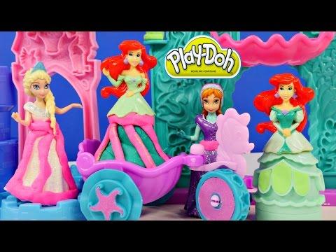 Play Doh Ariel's Undersea Castle Frozen Elsa Anna Magiclip Playdough Mix n' Match Disney Dolls