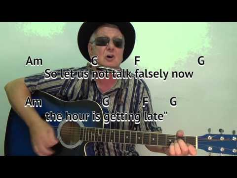 All Along the Watchtower - Dylan cover - lesson - on-screen chords/ lyrics (guitar/mouth organ)