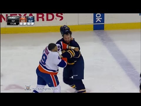 Scott - Justin Johnson vs John Scott from the New York Islanders at Buffalo Sabres game on Apr 13, 2014. via http://www.hockeyfights.com.