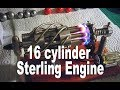 Crazy 16 Cylinder Sterling Desktop Engine Running red hot