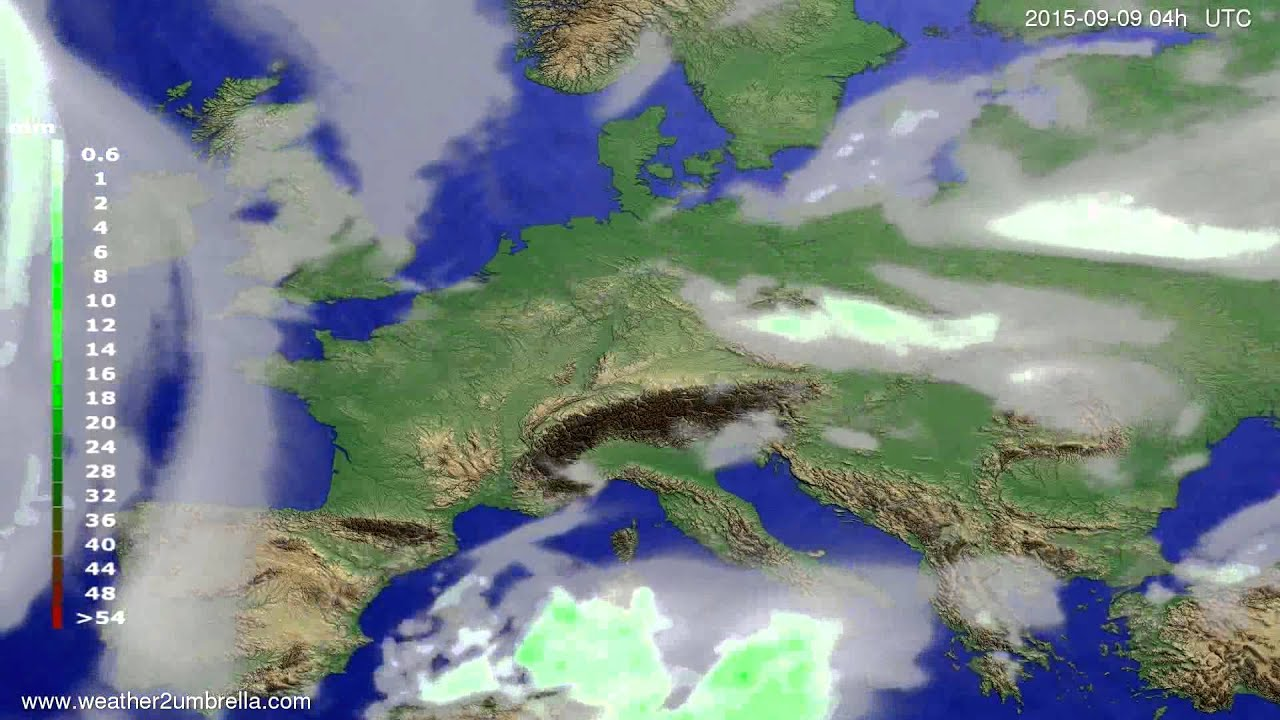 Precipitation forecast Europe 2015-09-06