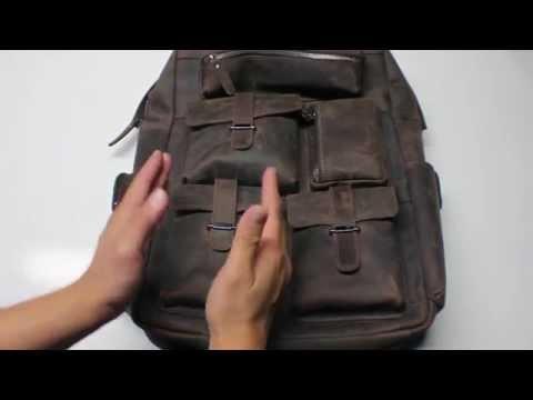 PR: S ZONE (S-ZONE D04V274A) Vintage Crazy Horse Genuine Leather Multi Pockets Backpack