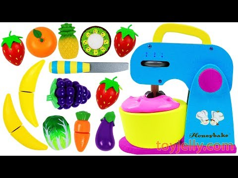 Learn Fruits & Vegetables with Toy Mixer Playset & Wooden Velcro Cutting Toys for Kids Preschoolers