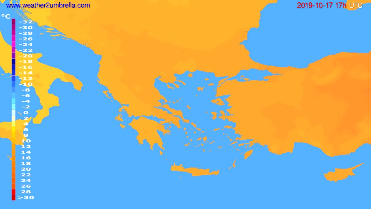 Temperature forecast Greece // modelrun: 00h UTC 2019-10-16