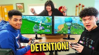 16 Year Old Little Brother 1v1's BEST Fortnite Player in School Detention