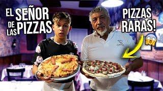 PROBANDO LAS PIZZAS MAS RARAS DEL SEÑOR DE LAS PIZZAS *nunca habia comido esto*