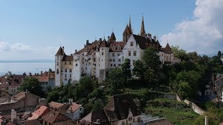 "In this footage: Neuchâtel's castle, the Diesse tour, the Creux du Van's cliff, a wakesurfer, Neuchâtel from above and ""La Tène"" ..."