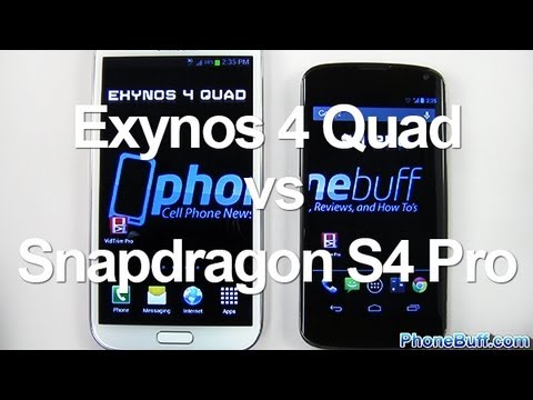 exynos - Article: http://www.phonebuff.com/2013/02/samsung-exynos-4-quad-vs-qualcomm-snapdragon-s4-pro/ We test the Exynos 4 Quad vs. Snapdragon S4 Pro to see which q...