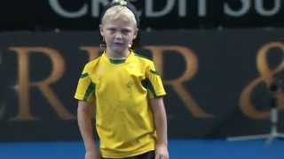 Lleyton Hewitt invites his son Cruz out for a surprise hit with Roger Federer in front of 10000 people at the global launch of Fast4...