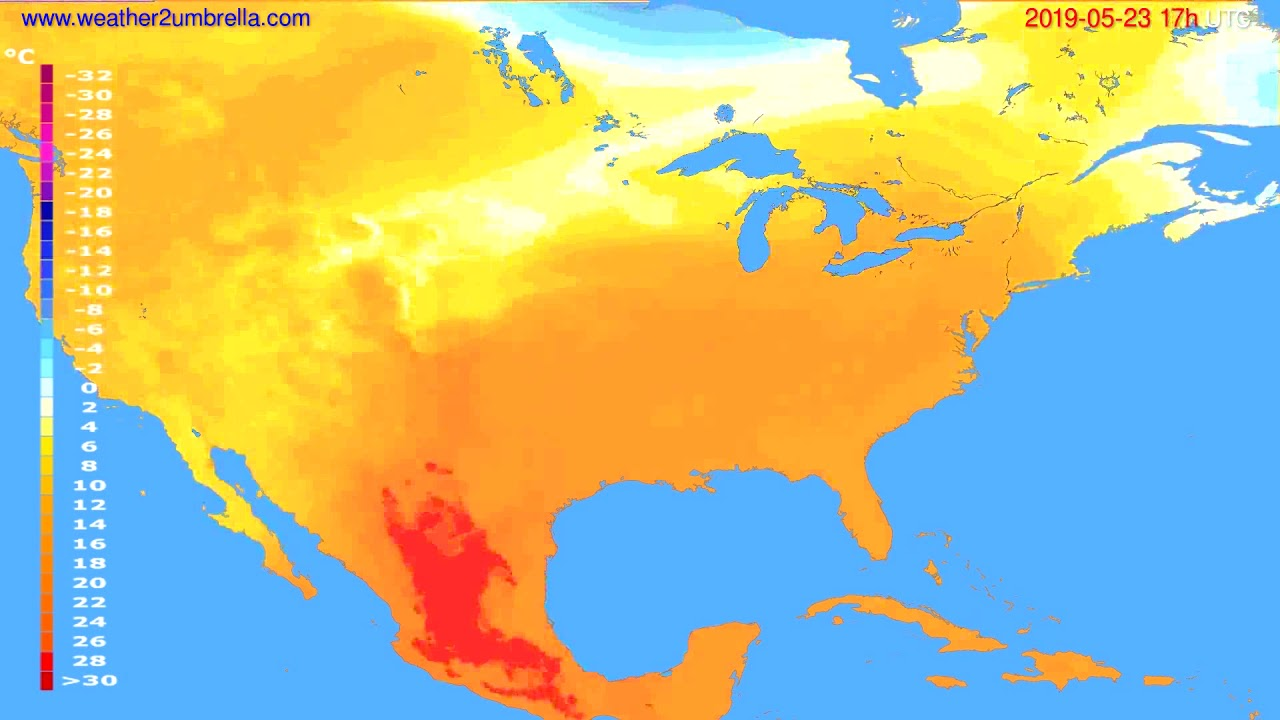 Temperature forecast USA & Canada // modelrun: 00h UTC 2019-05-22
