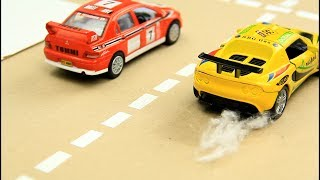 Yellow & Red Racing Cars vs Police Cars Video for Kids