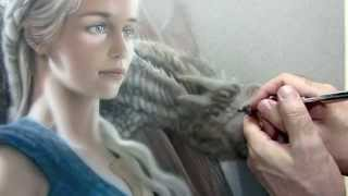 Time Lapse video painting of Game of Thrones character Daenerys Targaryen and Drogon by Heavy Metal artist Michael Calandra.