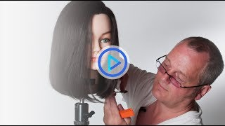 Stacey Broughton shows how to cut a bob haircut. Watch the full video and many more bob haircut tutorials at https://myhairdressers.com/videos/medium-one-length-bob-haircut