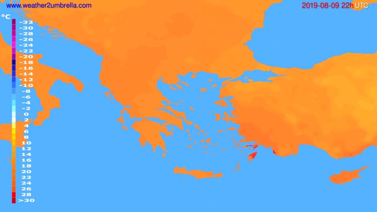 Temperature forecast Greece // modelrun: 00h UTC 2019-08-07