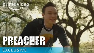 """Have you watched Preacher Season 2 Episode 3 yet? Take a behind the scenes look at the third episode with Ian Colletti, Seth Rogen, Evan Goldberg, and more.» SUBSCRIBE: http://bit.ly/AmazonPrimeVideoSubscribe» Watch Preacher on Amazon Prime Video: http://bit.ly/AmazonPrimeVideoPreacherAbout Preacher:Starring Dominic Cooper and based on the popular, cult comic book franchise, """"Preacher"""" is a supernatural, twisted and darkly comedic drama that follows a West Texas preacher named Jesse Custer, who is inhabited by a mysterious entity that causes him to develop a highly unusual power.Get More Amazon Prime Video: Watch More: http://bit.ly/WatchAmazonPrimeVideoNowFacebook: http://bit.ly/AmazonPrimeVideoFacebookTwitter: http://bit.ly/AmazonPrimeVideoTwitterInstagram: http://bit.ly/AmazonPrimeVideoInstagramTumblr: http://bit.ly/AmazonPrimeVideoTumblrAbout Amazon Prime Video:Want to watch it now? We've got it. This week's newest movies, last night's TV shows, classic favorites, and more are available to stream instantly, plus all your videos are stored in Your Video Library. Over 150,000 movies and TV episodes, including thousands for Amazon Prime members at no additional cost.Preacher Season 2 Episode 3 - Behind the Scenes  Amazon Prime Videohttps://youtu.be/arNcjRiVPYgAmazon Prime Videohttps://www.youtube.com/c/amazonvideouk"""
