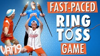 "Hook your ring that's on a string! Playing Tiki Toss sounds simple, right? That's not the case when Dude Decent changes up the rules.Buy here: https://www.vat19.com/item/tiki-toss-tabletop-edition?adid=youtubeSubscribe to Vat19: http://www.youtube.com/subscription_center?add_user=vat19comFollow Vat19:Facebook: https://facebook.com/vat19Instagram: https://instagram.com/vat19/Twitter: https://twitter.com/vat19SnapChat: https://www.snapchat.com/add/vat19teamShop hundreds more curiously awesome products:https://www.vat19.com/?adid=youtubeYou don't have to host a luau to have a blast playing Tiki Toss. In this tabletop skill game, you toss (or precisely release) a small metal hoop tied to a tower.******************With the right angle and force, your ring will swing toward the base of the tower and get hooked on the attached grapple. It's a simple concept that requires skill, focus, consistency, and the speed to do it before your competitors.Up to four competitors can play simultaneously on this tower that requires only a flat surface to play. Give Tiki Toss (or maybe you call it Ring and Hook, Ring on a String, or Wallhooky) a swing, and you'll be hooked! ******************Watch More Vat19:Latest Uploads: https://www.youtube.com/user/vat19com/videos?shelf_id=1&view=0&sort=ddPopular Videos: https://www.youtube.com/user/vat19com/videos?shelf_id=7&view=0&sort=pThe Sample Room: https://www.youtube.com/watch?v=jL1JK0U6s28&list=PLSqiExuEA-RG_aF5u4q5gEvJiUfoa6l25Fun Stuff to Eat: https://www.youtube.com/watch?v=7RXmNRr8x7I&list=PLSqiExuEA-REt5gzR0A9ernZNHlZ2glIlAbout Vat19:Vat19 is dedicated to ""curiously awesome"" gifts, candy, toys, gummy, putty, puzzles, games, and more! In addition to making funny commercials you'll actually want to watch, we produce amazing challenge videos, document our outrageous contraptions, and invite you to a front row seat for our silly stunts. Sometimes we blow things up, fill up a bathtub or pool with crazy stuff, dare each other to eat super spicy foods, and answer ""burning questions"" from our viewers."