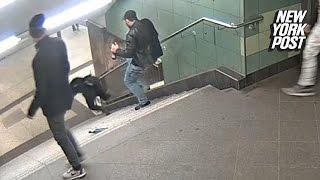 BRUTALNIE zepchnął ze schodów bezbronną KOBIETĘ!