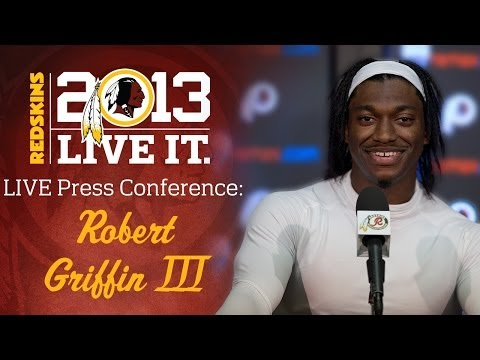 press - Redskins QB RGIII talks to the media following practice at Redskins Park in Loudoun County, Va. on Wednesday, December 11, 2013.