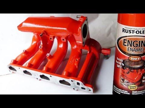 Spray painting the intake manifold
