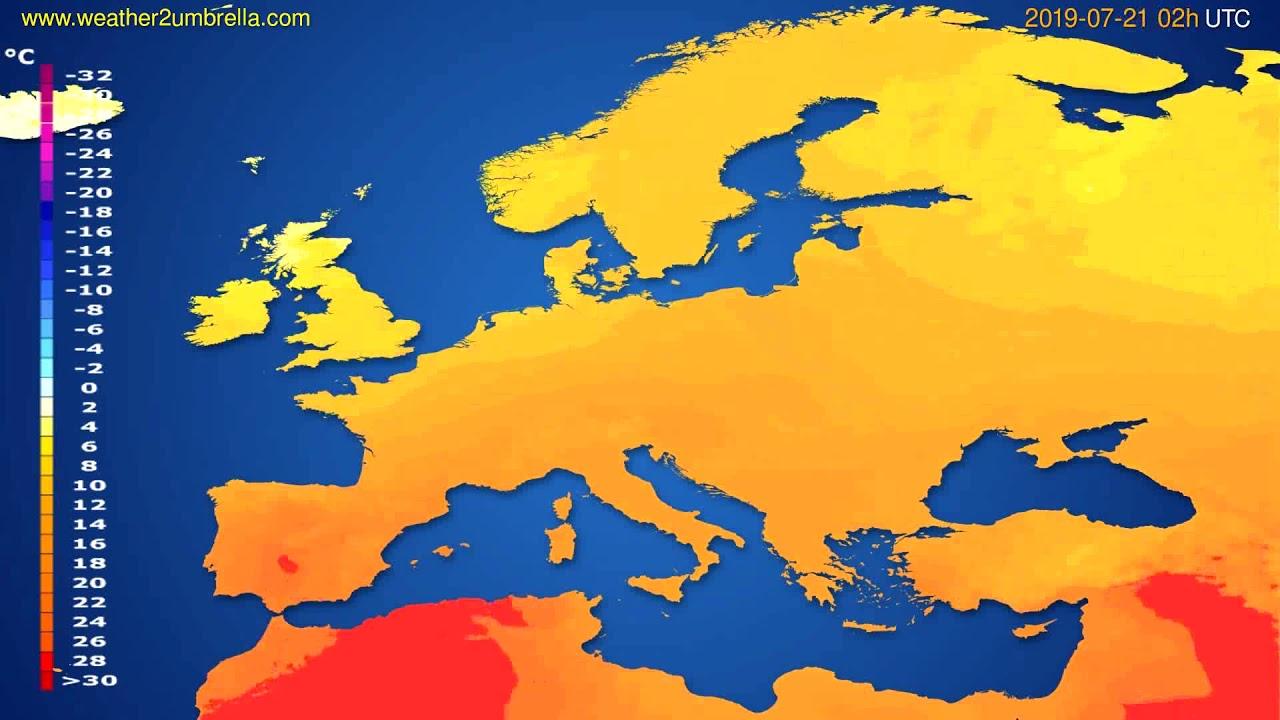 Temperature forecast Europe // modelrun: 00h UTC 2019-07-18