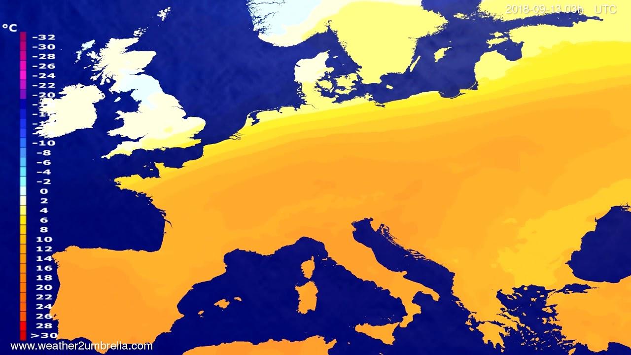 Temperature forecast Europe 2018-09-10