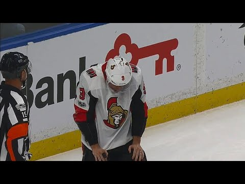 Video: Bobby Ryan shaken up after hit by Jordan Nolan