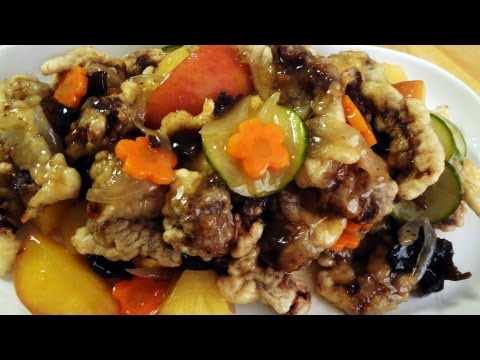 Korean Chinese Recipe: Crunchy Fried Beef with Sweet and Sour Fruit and Vegetable Sauce – Tangsuyuk
