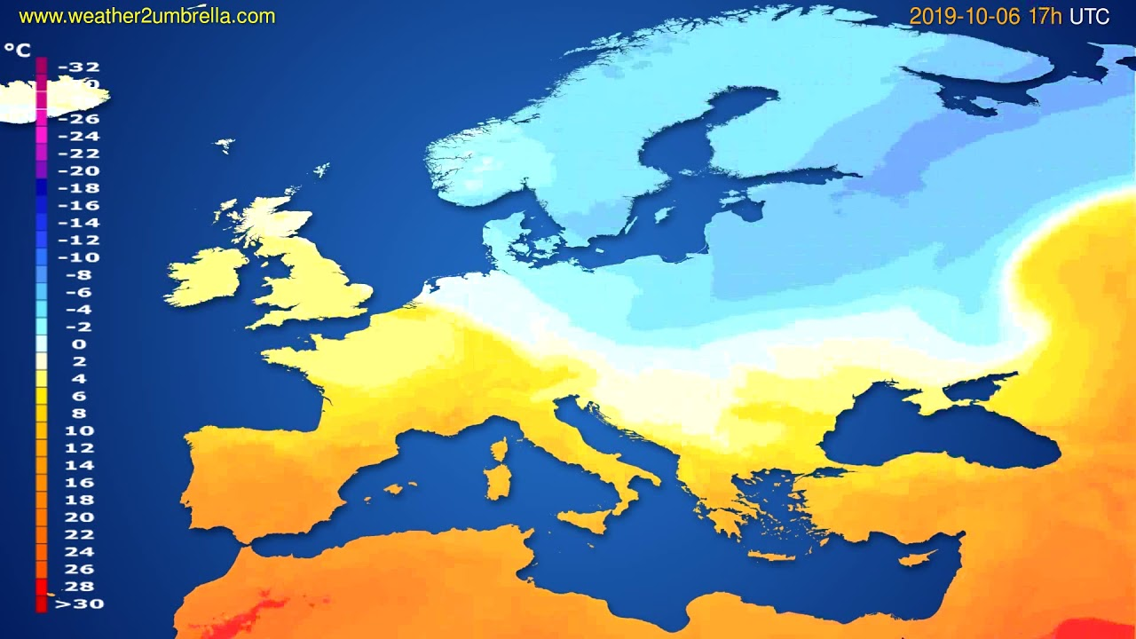 Temperature forecast Europe // modelrun: 00h UTC 2019-10-05
