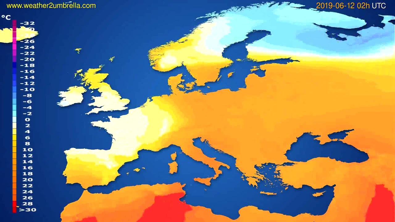 Temperature forecast Europe // modelrun: 00h UTC 2019-06-09