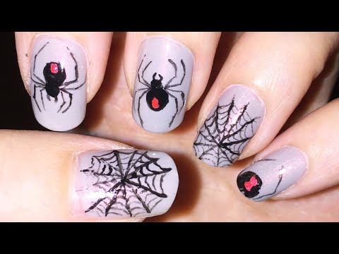 halloween nail art: spider and web