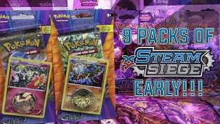 Pokémon Cards - 9 Packs of Steam Siege!   Lucario & Floette Checklane Blister Packs by The Pokémon Evolutionaries