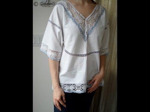 Hippie Bluse aus Tischtuch selber machen – OWIMO Design Upcycling