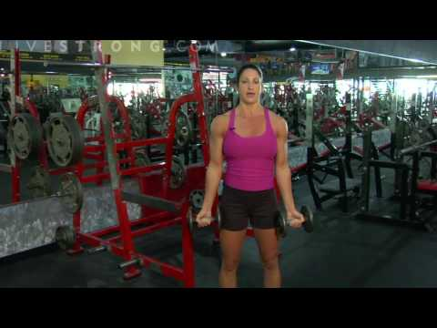 bicepcurls - Working out the arms with standing dumbbell curls. Learn to increase muscle strength in the arms with dumbbells and curl exercises.