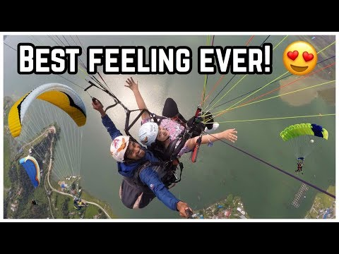 (Paragliding in Pokhara, Nepal ... 6 minutes, 44 seconds.)