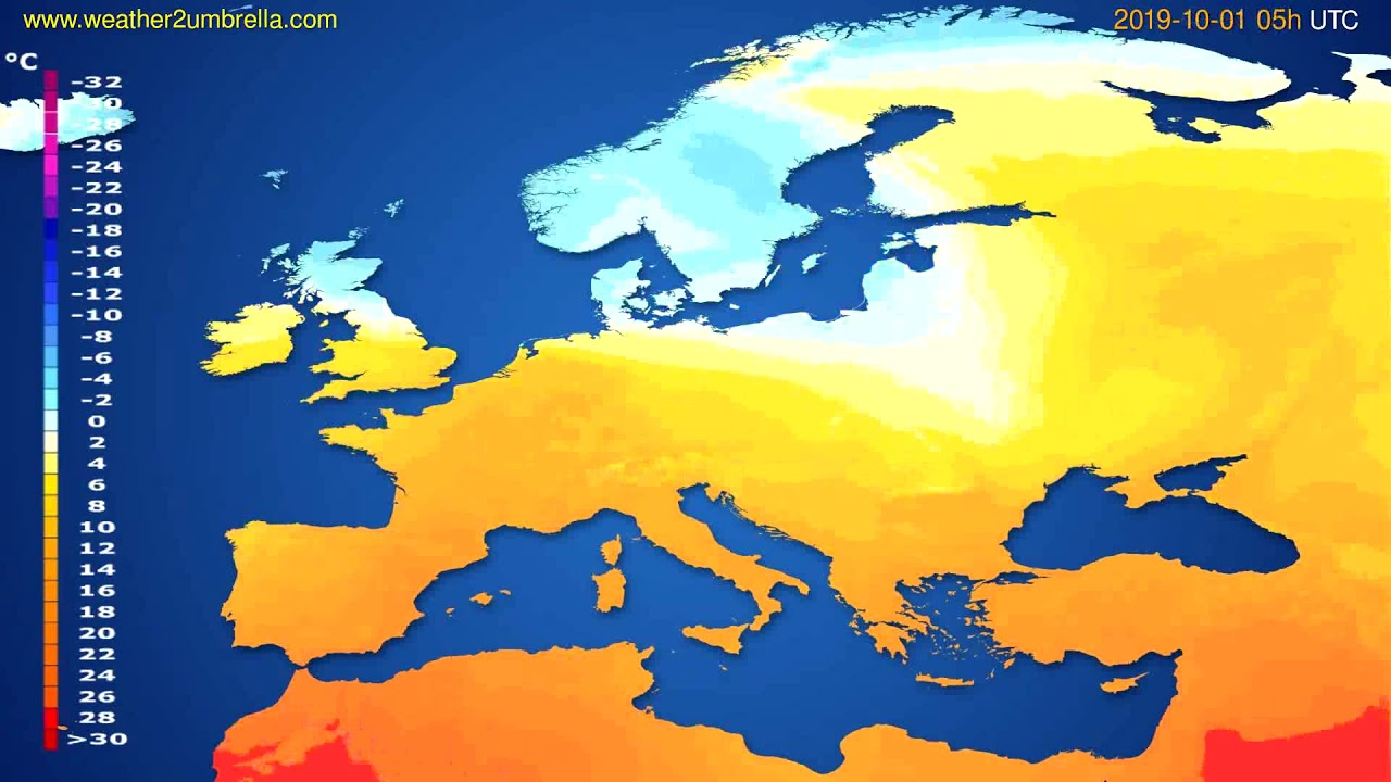 Temperature forecast Europe // modelrun: 00h UTC 2019-09-29