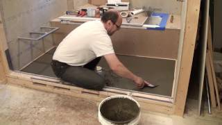 How to Mortar Shower Pan. HardieBacker on plywood floor. Bathroom Remodeling. Part 16.