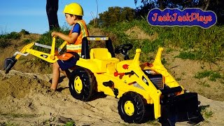 Backhoe Ride On Tractor Surprise Toy Unboxing, Kids Playing with Construction Trucks